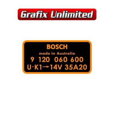 Alternator Decal Bosch 9 120 060 600