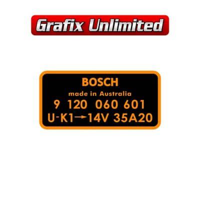 Alternator Decal Bosch 9 120 060 601