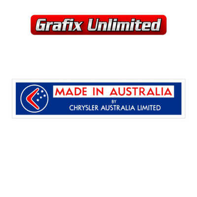 Made in Australia by Chrysler Decal Dark Blue