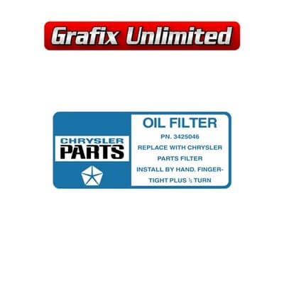 Oil Filter Decal Chrysler Parts