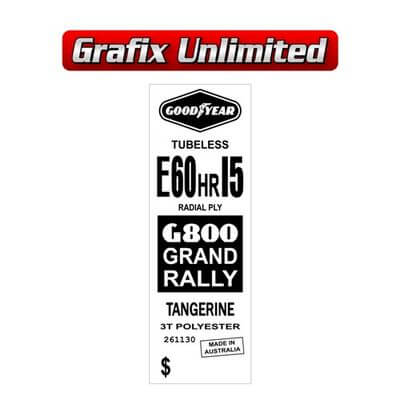 Spare Tyre Decal Grand Rally ER60HR15