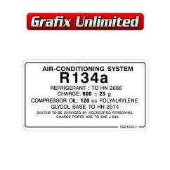 Air Conditioning System R134a Decal