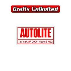 Alternator Part Number Decal Autolite 1970   1971