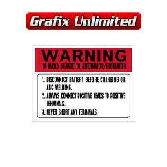 Battery Warning Decal 1972 - 1977
