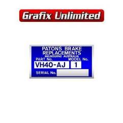Brake Booster Decal, VH40-AJ1