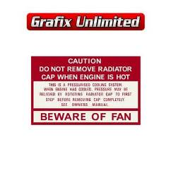 Caution Beware of Fan Decal 1978 - 1985