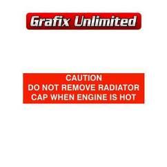 Caution Radiator Cap Decal