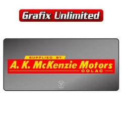 Dealership Decal, A. K. McKenzie Motors