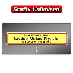 Dealership Decal, Bayside Motors Frankston