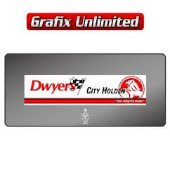 Dealership Decal, Dwyers City Holden
