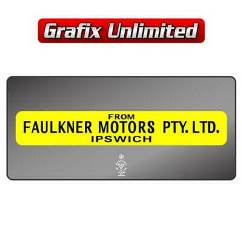 Dealership Decal, Faulker Motors Pty Ltd