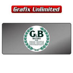 Dealership Decal, G & B Motors For Holden