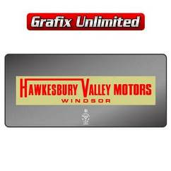 Dealership Decal, Hawkesbury Valley Motors