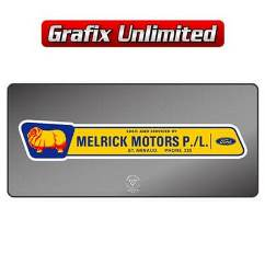 Dealership Decal, Melrick Motors
