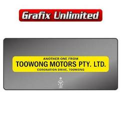Dealership Decal, Toowong Motors Pty Ltd