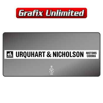 Dealership Decal, Urquhart & Nicholson Motors Cooma