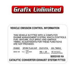 Emission Decal, 92033105 KA 3800 V6