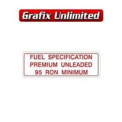 Fuel Specification Premium Unleaded Decal