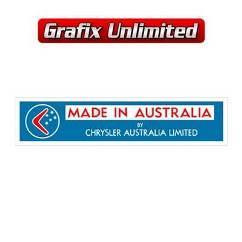 Made in Australia by Chrysler Decal, Light Blue