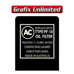 Oil Filter Decal, AC Type PF-10