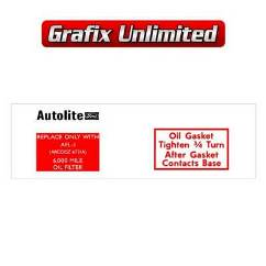 Oil Filter Decal, Autolite