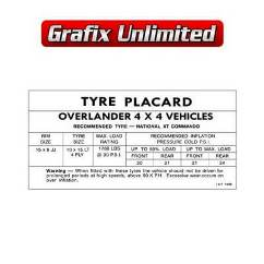 Overlander Decal, Tyre Placard