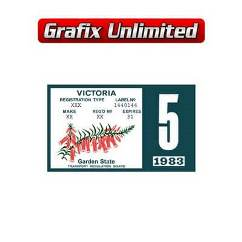 Registration Label, VIC 1983 - 1984 _ 1987 - 1988