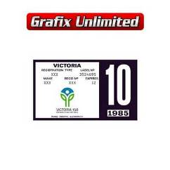 Registration Label, VIC 1985 - 1986
