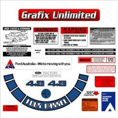 Ford Decal Kit XE ZK 4.9 V8 jack motorcraft warning sticker label
