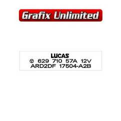Wiper Motor Decal, Lucas 67 amp