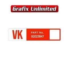 Wiper Motor Decal, VK Part Number 92023847